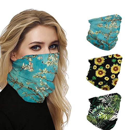 IYOU - Polainas para el cuello al aire libre, diseño de flores, para moto, pasamontañas y pasamontañas para el polvo, para mujer y hombre (3 unidades)