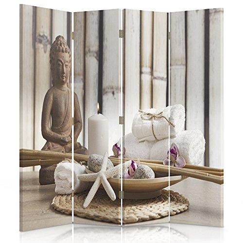 Feeby Frames Biombo Impreso sobre Lona, tabique Decorativo para Habitaciones, a una Cara, de 4 Piezas (145x150 cm), Buda, Cultura, Vela, Zen, Moderno