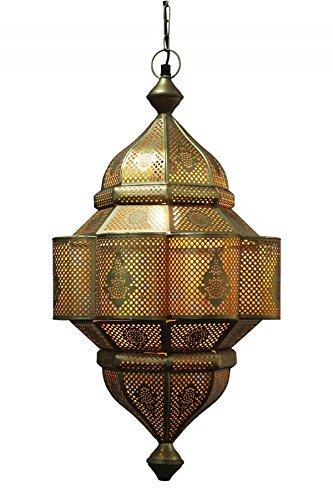 Orientalische Lampe Pendelleuchte Gold Enes 60cm E27 Lampenfassung | Marokkanische Design Hängeleuchte Leuchte aus Marokko | Orient Lampen für Wohnzimmer Küche oder Hängend über den Esstisch