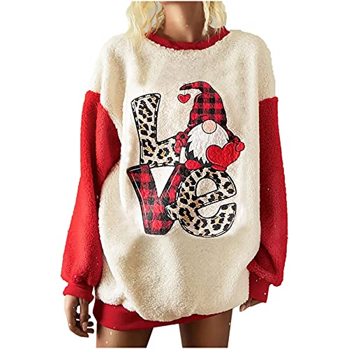 Christmas Sweatshirts for Women Fuzzy Fleece Crewneck Sweater Splicing Long Sleeve Pullover Tunic Gnomes Print Tops Red