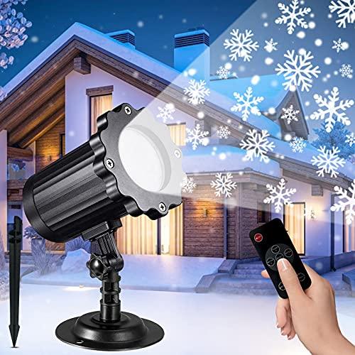 Proiettore Luci Natale, SODREE Proiettore Luci Fiocchi di Neve LED Impermeabili IP65 en Esterno e Interno, Lampada Proiettore Natale con Telecomando RF e Timer per Natale, Festa, Nozze e Giardino