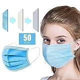 Decdeal- 50 Pezzi Protezione per Il Viso Monouso 50 Pezzi,3 Strati Filtro,Protezione di Sicurezza Non Tessuta Sanitaria