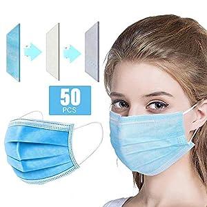 Immagine di Decdeal- 50 Pezzi Protezione per Il Viso Monouso 50 Pezzi,3 Strati Filtro,Protezione di Sicurezza Non Tessuta Sanitaria