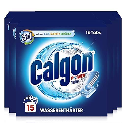 Calgon 3-in-1 Power Tabs – Wasserenthärter gegen Kalkablagerungen und Schmutz in der Waschmaschine – Beugt unangenehmen Gerüchen vor – 6 x 15 Tabs