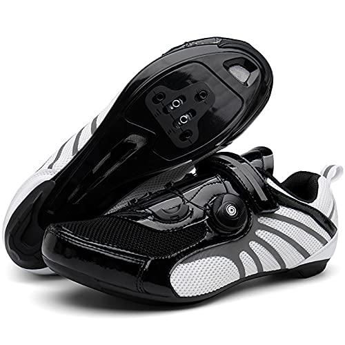 YQSHOES Zapatillas Ciclismo Carretera para Hombre Compatibles con SPD y Hebilla Giratoria Delta Cleat,Blanco,45EU/10UK/10.5US