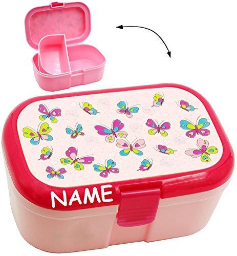 alles-meine.de GmbH Lunchbox / Brotdose -  Schmetterlinge & Blumen  - incl. Name - mit extra Einsatz / herausnehmbaren Fach - Brotbüchse Küche Essen - für Mädchen & Jungen - Ti..