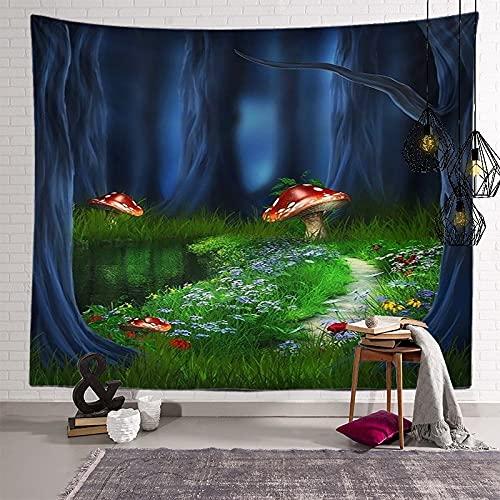 KHKJ Tapiz de Mandala de Hongos, cabecero de Pared, Colcha de Arte, Tapiz de Dormitorio para Sala de Estar, Dormitorio, decoración del hogar, A4 95x73cm