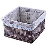CARPET A-Must han Tejido a Mano Rectangular Rattan Basket en casa, con Forro Desmontable Cesta del almacenaje, Ropa Sucia, Snacks, Libros, cosméticos, escombros Caja de Almacenamiento