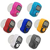 AFUNTA 7 Pcs Finger Counters - 5 Digital LED Electronic Finger Counter, Mechanical Manual Clicker Number Lap Tracker Counter - Diamond Shape