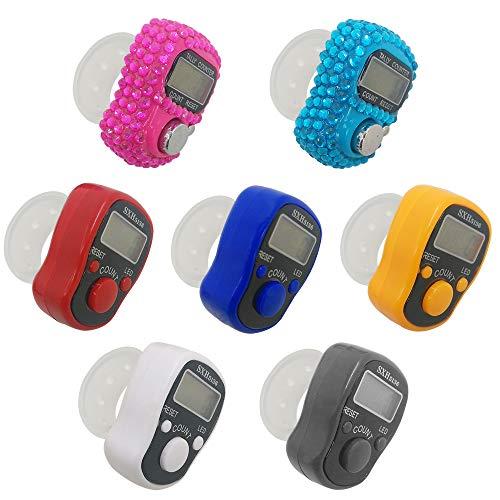 AFUNTA - Contador de dedos de 7 piezas, con 5 LED digital electrónico, mecánico manual de clicker y número de vuelta, forma de diamante