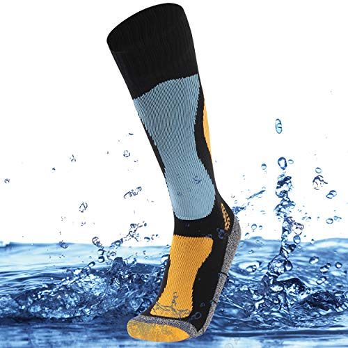 SuMade Mens Waterproof Hiking Socks, Women Knee Length Warm Quick Dry Windproof Athletic Running Boating Camping Padded Over the Calf Rain Socks for Youth Dad Gifts 1 Pair (Blue, Medium)