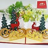 Navidad Tarjetas,Tarjetas de Navidad 3D,Navidad Tarjeta de felicitación Pop Up Regalo Tarjeta con Sobres,para decoraciones navideñas y felicitaciones navideñas (Deer)