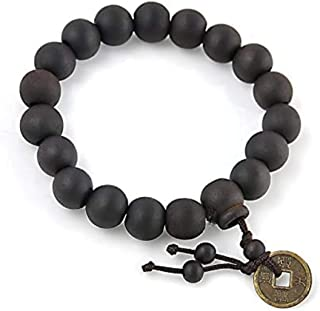 Darshan Online Wooden Beads Elastic Stretchable Handmade Bracelet with Good Luck Feng Shui Lucky Coin for Men & Women(Black)