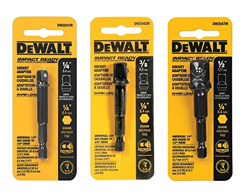 DeWalt 3-pc Socket Adapter Set includes DW2541IR, DW2542IR, DW2547IR