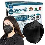 50 Mascherine FFP2 NERE Certificate CE Italia colorate Adulti. BFE ≥99% Made in Italy Mascherina ffp2 Colorata NERA SANIFICATA e sigillata singolarmente. Pluri certificata ISO 13485 e ISO 9001