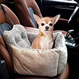 AIPERRO Dog Car Seat, Pet Puppy Booster Seat Ultra Soft Travel Car Bed with Adjustable Buckle Design, Washable Warm Plush Car Safety Seats for Small Dogs or Cats