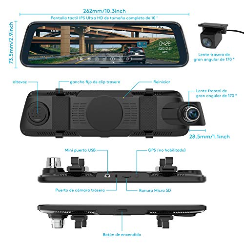 Dash CAM Espejo Retrovisor,C/ámara de Coche FHD 1080P 10 Pulgadas Pantalla T/áctil con C/ámara Frontal Gran Angular 170/°,Monitor de Aparcamient Regalo: 32 GB Tarjeta de Memoria y Lector de Tarjetas