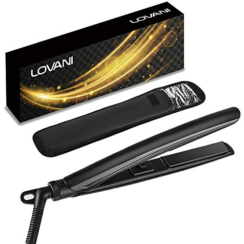 LOVANI Mini Hair Straightener,0.6 Inch Travel Flat Iron Dual Voltage Small Size Anti Scald Hair Iron with 3D Floating Ceramic Tourmaline Plates for Short Hair,Black (Black)