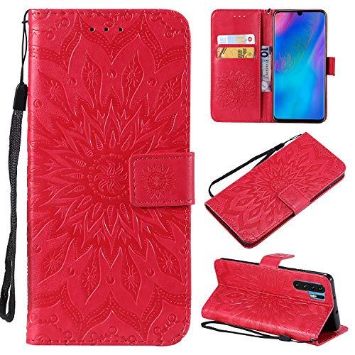 Artfeel Cuir Portefeuille Étui pour Huawei P30 Pro avec Porte-Carte, Coque à Rabat Magnétique Rouge Housse Motif Tournesol en Relief,Style Livre avec Dragonne Support Étui