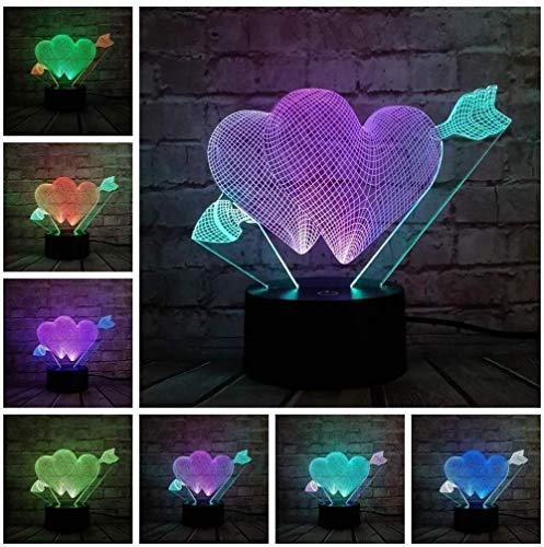 ilusión 3D LED Luz nocturna Hola Sweet Love Arrow Mix De Habitación De Niños Lámpara De Mesa Los Mejores Regalos De Vacaciones De Cumpleaños Para Niños Con carga USB, control táctil de cambio de
