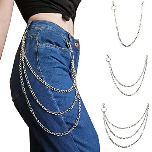 UPANV Cadenas De Pantalones, Cadena Punk Gótico Metal Cinturón Cadena Jeans Cadena Colgante Biker Pantalón Accesorio De Cadena para Hombres Mujeres 3 Piezas