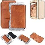 K-S-Trade® Schutz Hülle Für Blaupunkt SL02 Gürteltasche Holster Gürtel Tasche Schutzhülle Handy Smartphone Tasche Handyhülle PU + Filz, Braun (1x)
