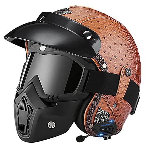 Bluetooth Casco Moto Jet,ECE Homologado,Adultos Casco Moto Abierto 3/4 Casco Moto para Mujer y Hombre,Casco Crash para Mofa Piloto Cruiser Chopper Scooter Biker K,XL=60~61cm