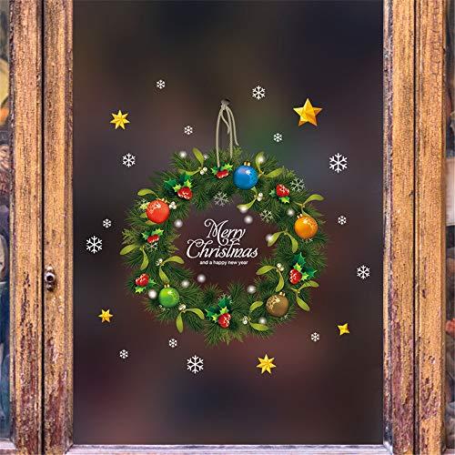 WARMWORD Doble Cara Navidad Anillo de ratán Etiqueta de la Puerta Ventana...
