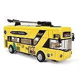 Xolye Lega Tram Modello in Metallo Anti-Goccia Pull Luce Posteriore Auto Giocattolo con la Porta Aperta del Suono e Toy Car Light Simulazione Sound Effect Yellow Bus Car Inertia Tirare Indietro Car