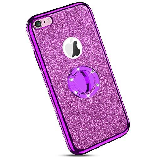 Ysimee kompatibel mit iPhone 6 /iPhone 6S Hülle, Bling Schutzhülle Glänzend Weiche TPU Silikon HandyHülle Bumper Case mit Ring 360 Grad Ständer, Diamant Glitzer Case, Lila