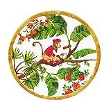 Les Jardins de la Comtesse - Petite Assiette à Dessert en Mélamine - Contour Bambou - Singes de Bali - 22 cm - Rouge Corail/Vert - Service de Table - Collection Vaisselle Quasi-Incassable MelARTmine