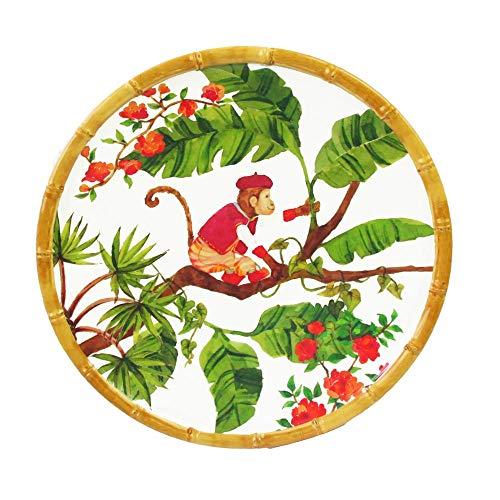 Les Jardins de la Comtesse - Pequeño Plato Para Postres - Melamina Pura - Contorno Bambú - Monos de Bali - 22 cm - Coral Rojo y Verde - Servicio de Mesa de la Colección Vajilla Irrompible MelA