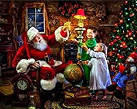 DIYダイヤモンド塗装サンタクロースダイヤモンド刺繍動物クロスステッチモザイク父のクリスマス絵画家の装飾-40 * 50センチ