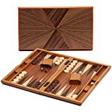 GSE Games & Sports Expert Small/Medium/Large Wooden Folding Inlay Backgammon Board Game Set. Classic Portable Travel...
