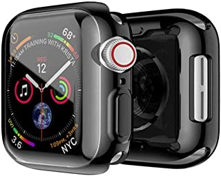 FOOKANN Full Coverage Screen Protector Case/Cover for Apple Watch Series 4 Series 5 44mm, Soft Protective Cover for iWatch Series 4/5 44mm, Black