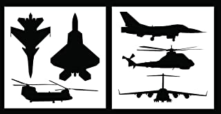 Auto Vynamics - STENCIL-MILAIRSET01-10 - Detailed Military Aircraft Stencil Set - Includes Fighter Jets & Helicopters! - 10-by-10-inch Sheets - (2) Piece Kit - Pair of Sheets