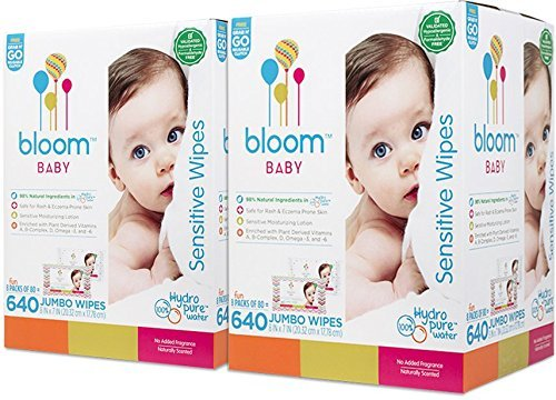 bloom BABY Sensitive Skin Unscented Hypoallergenic Wipes with Holder - 1280 count