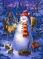 WEIFENGX油絵 数字キットによる絵画 塗り絵 大人 手塗り DIY絵 デジタル油絵 フレームレス 40x50cm - クリスマスの雪だるまと動物