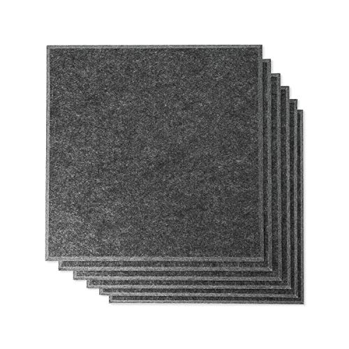 Rhino Acoustic Absorption Panel 12' x 12' x 0.4' NRC Sound Proof Padding for Echo Bass Isolation Dark Gray 6 Pieces Beveled Edge for Wall Decoration and Acoustic Treatment