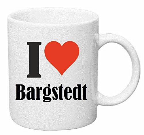 Reifen-Markt Kaffeetasse I Love Bargstedt Keramik Höhe 9,5cm ? 8cm in Weiß