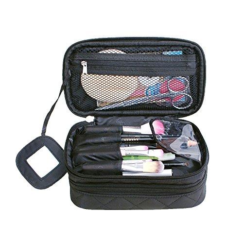 NOTAG Organizer voor make-uptas, multifunctioneel, 2 lagen, reisset organizer, cosmeticatas met spiegel voor vrouwen, 2 maten, zwart (zwart) - T-123