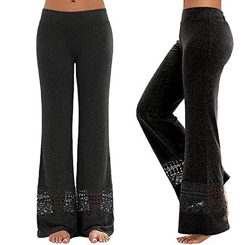 Womens Bootleg Yoga Pants, 2021 Elastic Lace Hollow Workout Leggings Thread Palazzo Pants Tummy Control Trousers