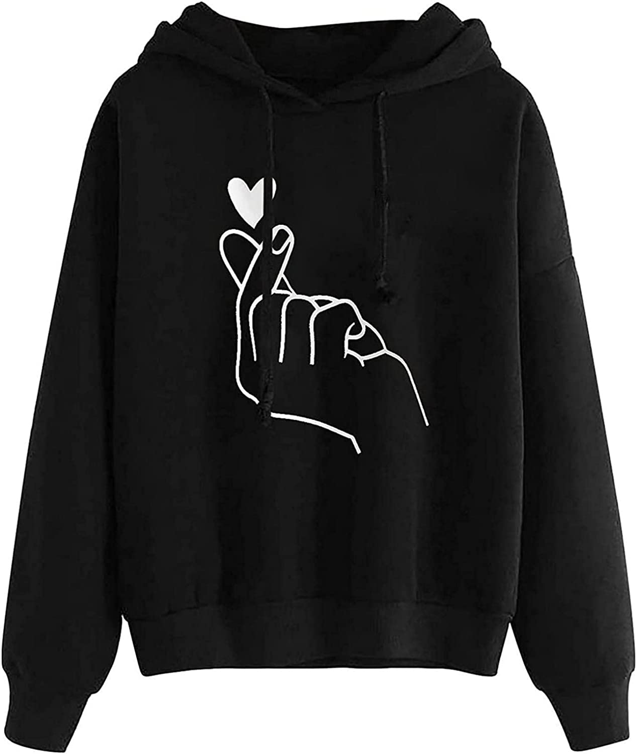 UQGHQO Hoodies for Women, Women's Heart Print Comfy Hoodies Bright Color Long Sleeve Sweatshirt Loose Fit Pullover Tops