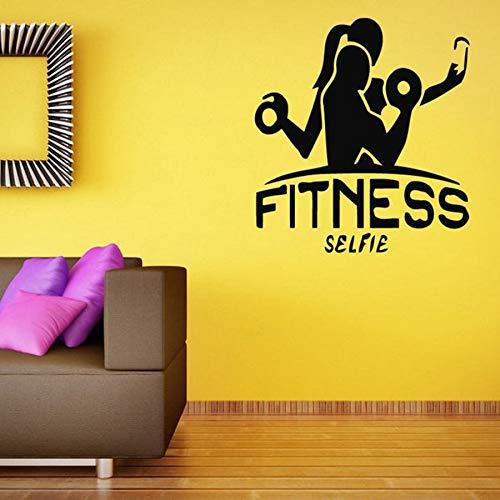HGFDHG Fitness Selfie Mural decoración de Interiores Ejercicio para Encontrar motivación Ejercicio Gimnasio Vinilo Pegatinas de Pared Deportes Bodybuilding Girl Mural