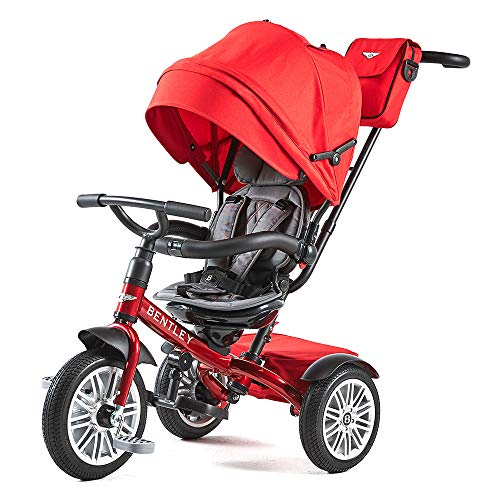 Bentley Triciclo Evolutivo Licencia Triciclo con Asiento Giratorio y Capota, Incluye Bolso - Triciclo para bebés a Partir de 12 Meses (Dragon Red)