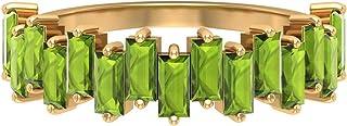 Anillo de peridoto creado en laboratorio de 2 x 4 mm, anillo de boda, anillo de oro en zigzag (calidad AAAA), oro de 10 qu...