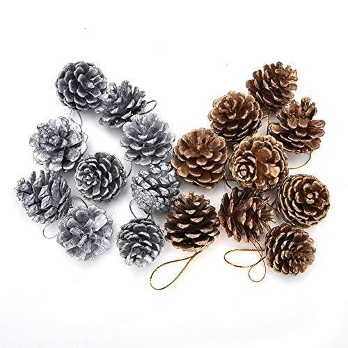 18 Piezas de Conos de Pino Adorno Navideño Cono de pino natural con cuerda Decoración de árbol de Navidad Colgante DIY Artesanía Etiqueta de regalo Fiesta en casa Decoración colgante, 2 colores