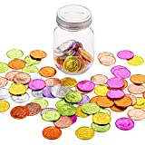 100 Pieces I was Caught Being Good Incentive Coins Colorful Plastic Reward Coins, and 1 Glass Jar with Stainless Steel Open Slot Cover for School Classroom Teacher Learning Incentives