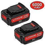 6.0Ah DCB205 Replacement for Dewalt 20V Battery Max XR Lithium DCB206 DCB205-2 DCB204 DCB203 DCB200 DCB180 DCB230 DCD DCF DCG Series 2 Pack