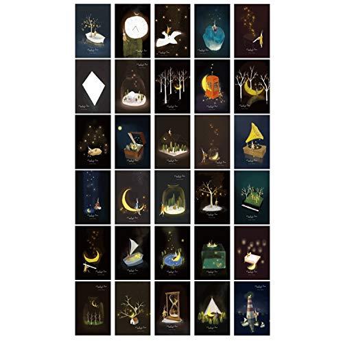 ZHU YU CHUN 30pcs Vintage Luminous Postcard Glow in The Dark Moon Light Greeting Post Card Novelty Xmas Greeting Cards Gift (Moonlight)